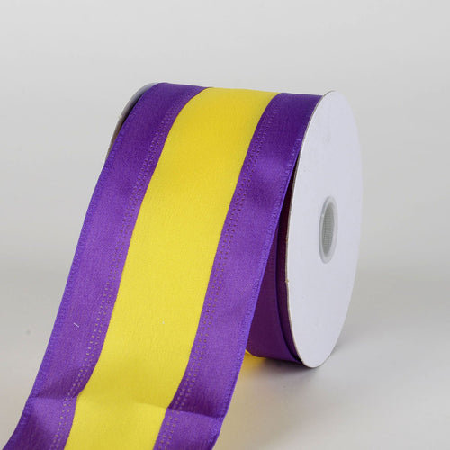 Satin Purple & Yellow Colleges Wired Ribbon ( 2-1/2 Inch x 10 Yards )