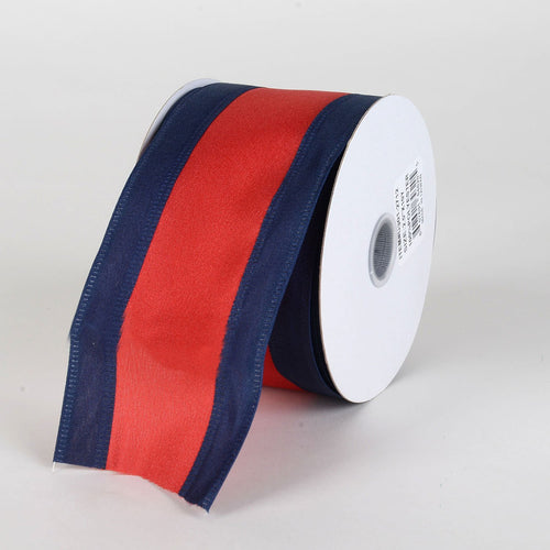 Satin Navy Blue & Red Colleges Wired Ribbon ( 2-1/2 Inch x 10 Yards )