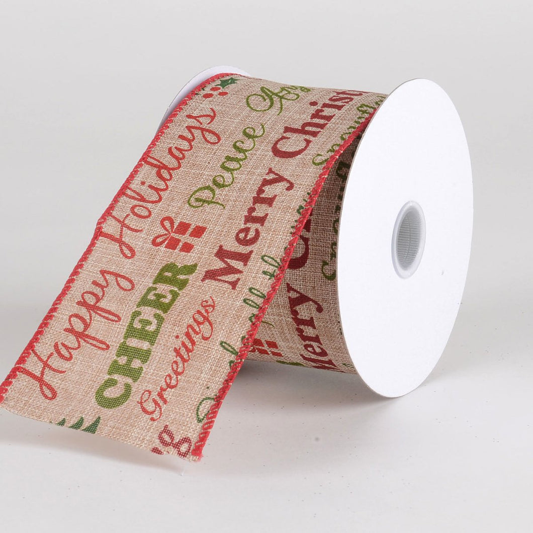 Discontinued - Happy Holiday Christmas Ribbon - (2.5''x10yds) - X51924010