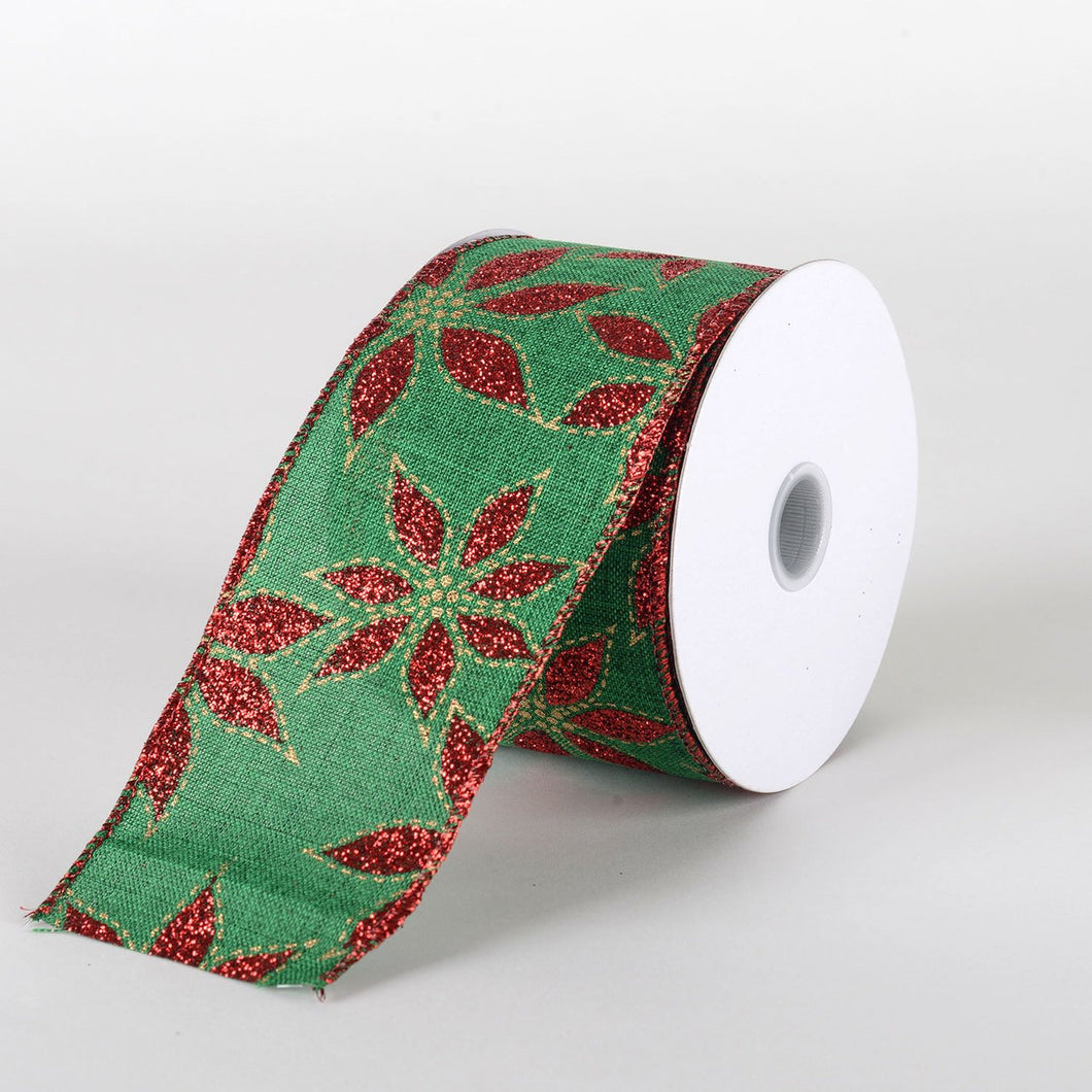Emerald Red Glitter poinsettia Ribbon  - (2.5''x10yds) - X71524017