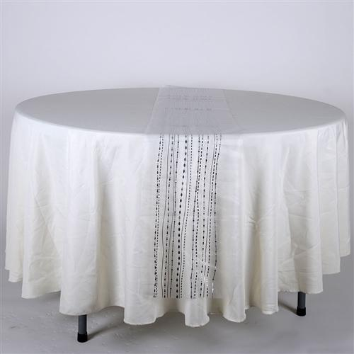 WHITE with SILVER Metallic ORGANZA Table Runner - XB34242