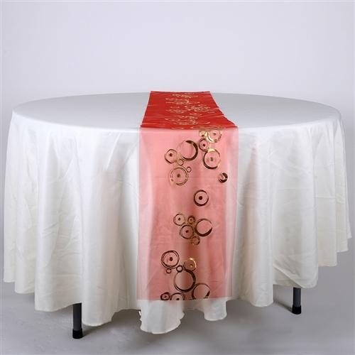 RED with GOLD Metallic ORGANZA Table Runner - XB34312