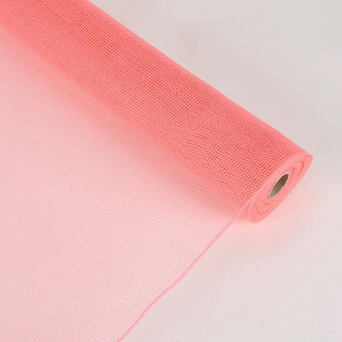 Coral  - Floral Mesh Wrap Solid Color -  ( 21 Inch x 10 Yards )