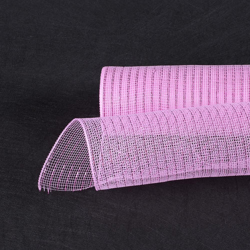 Light Pink - Deco Mesh Wrap Metallic Stripes -  ( 10 Inch x 10 Yards )