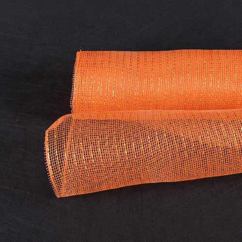 Orange - Deco Mesh Wrap Metallic Stripes -  ( 10 Inch x 10 Yards )