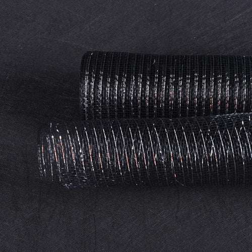 Black with Silver - Deco Mesh Wrap Metallic Stripes -  ( 10 Inch x 10 Yards )