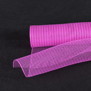 Fuchsia - Deco Mesh Wrap Metallic Stripes -  ( 10 Inch x 10 Yards )