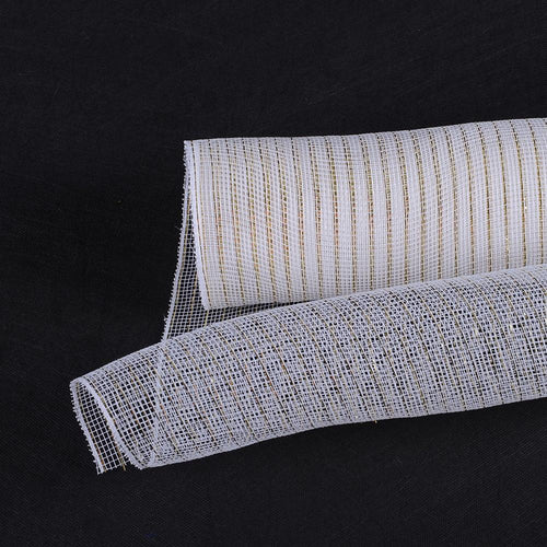 White with Gold - Deco Mesh Wrap Metallic Stripes -  ( 10 Inch x 10 Yards )