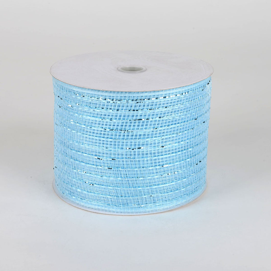 Light Blue - Floral Mesh Ribbons - ( 4 Inch X 25 Yards )