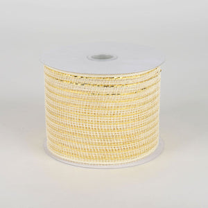 Ivory - Floral Mesh Ribbons - ( 4 Inch X 25 Yards )