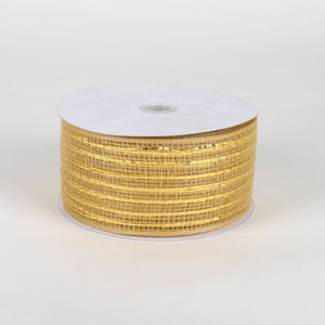 Gold - Floral Mesh Ribbons - ( 2-1/2 Inch X 25 Yards )