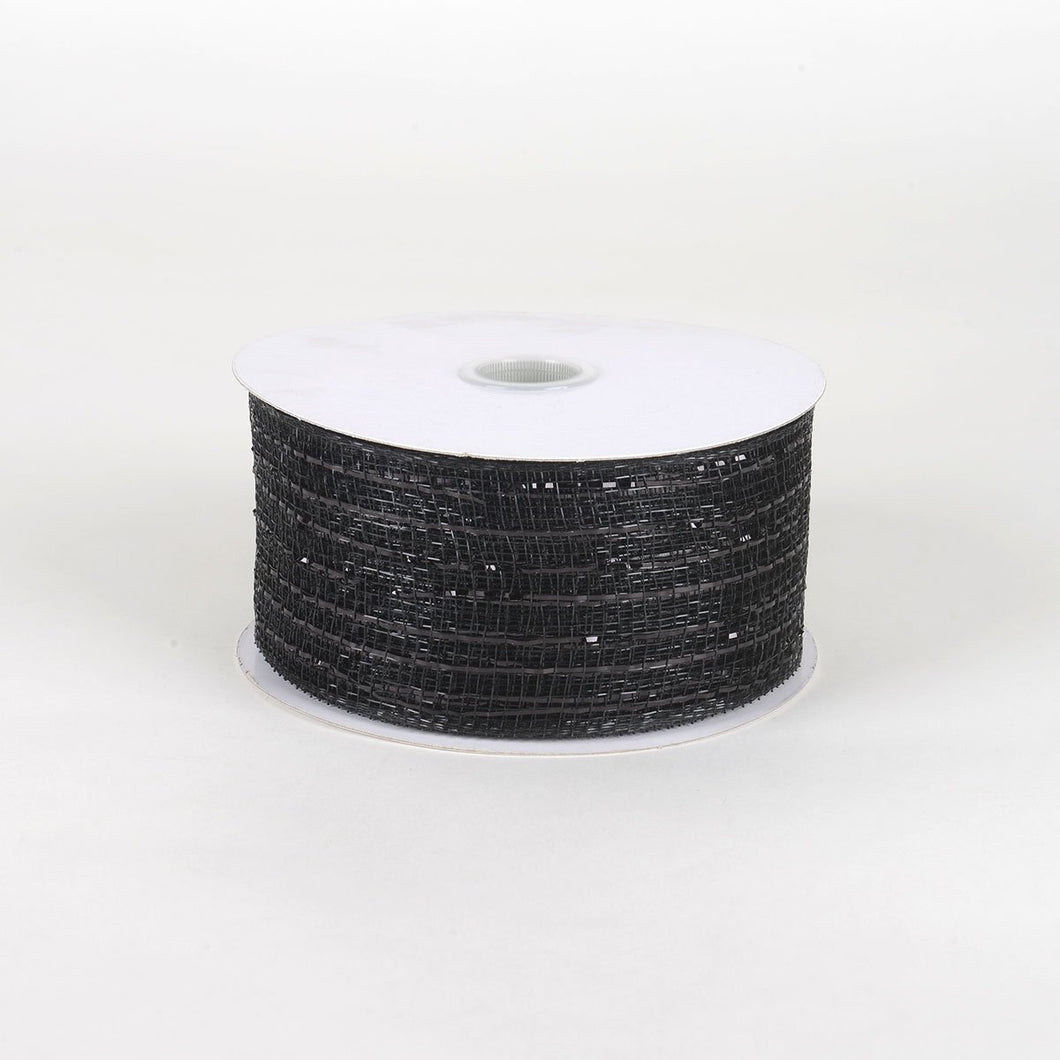 Black With Black - Floral Mesh Ribbons - ( 2-1/2 Inch X 25 Yards )
