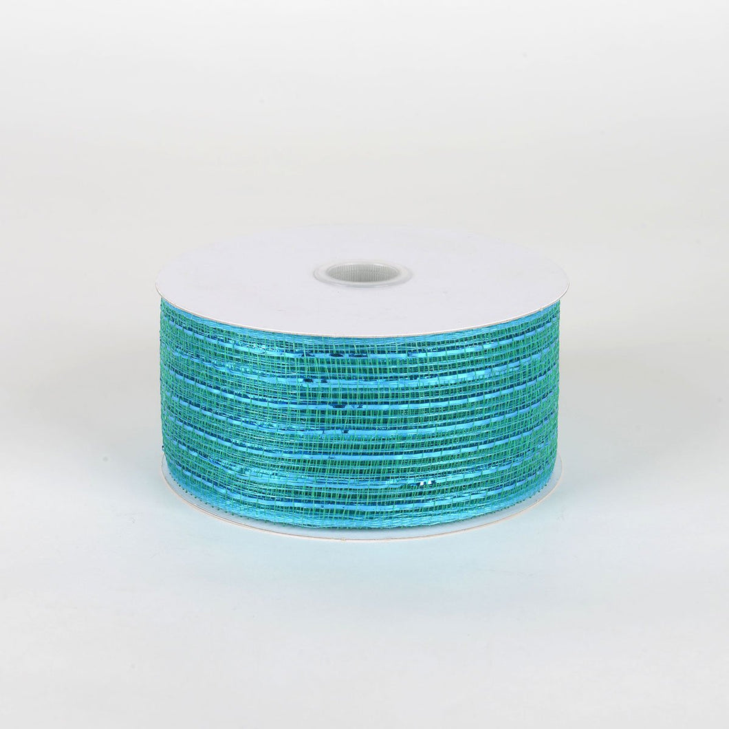Teal - Floral Mesh Ribbons - ( 2-1/2 Inch X 25 Yards )