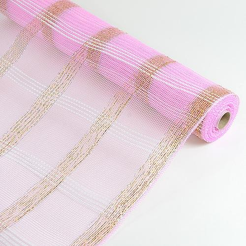 Pink  - Deco Floral Mesh Check Metallic Stripe -  ( 21 Inch x 10 Yards )