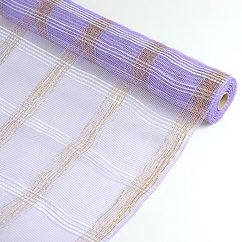 Lavender  - Deco Floral Mesh Check Metallic Stripe -  ( 21 Inch x 10 Yards )