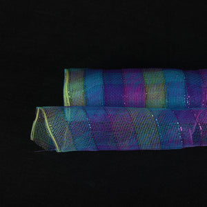 Mermaid  - Poly Deco Mesh Wrap with Laser Mono Stripe -  ( 10 Inch x 10 Yards )