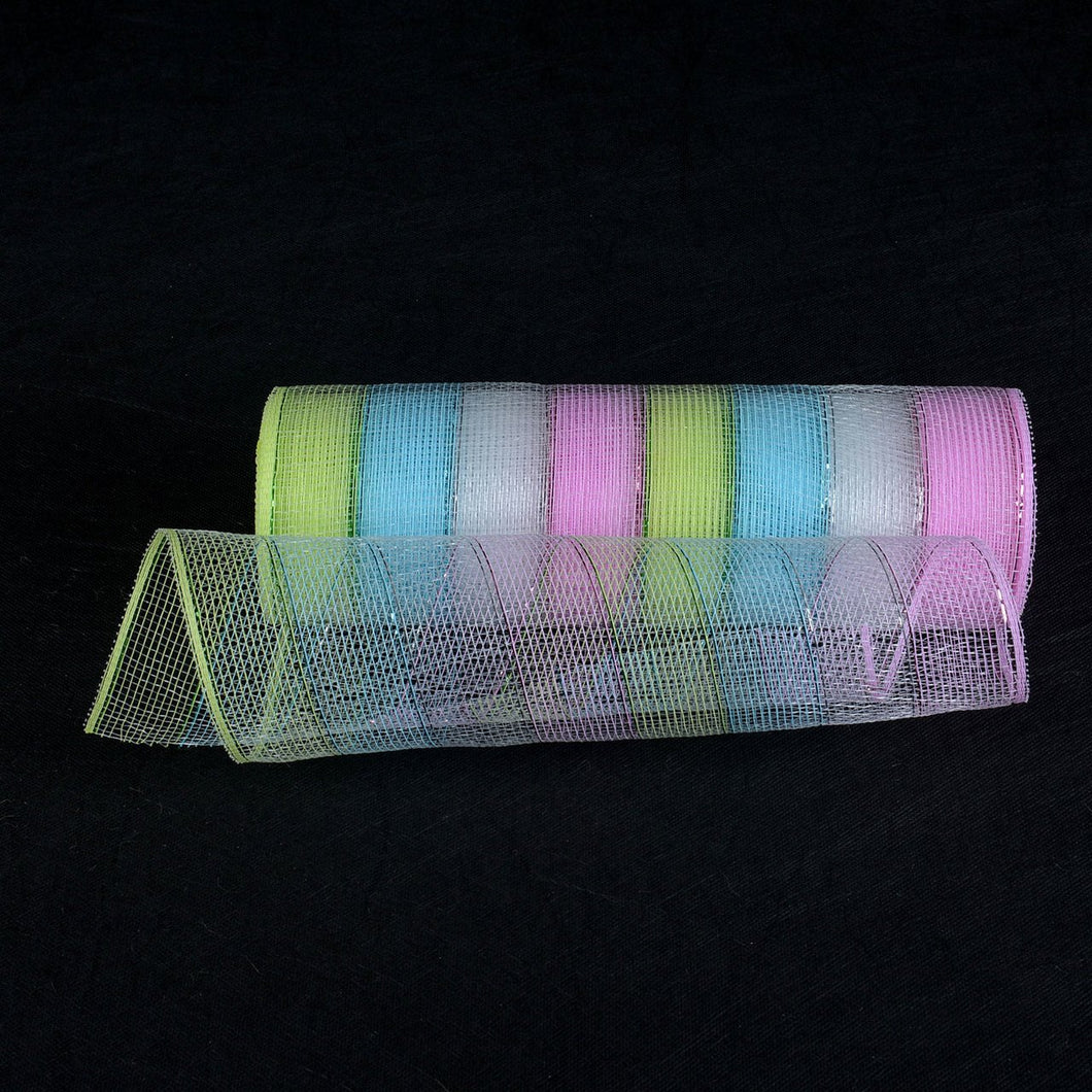 Fairy - Poly Deco Mesh Wrap with Laser Mono Stripe -  ( 10 Inch x 10 Yards )