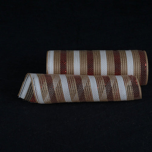 Natural Burlap Christmas Deco Mesh With Red and White Stripes - 10 Inch x 10 Yards