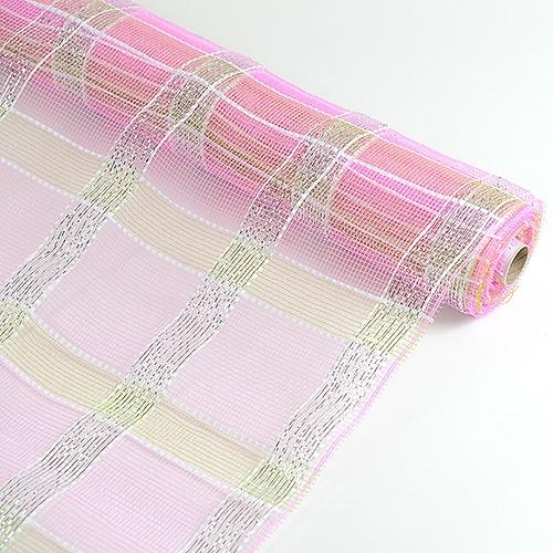 Pink with Silver  - Poly Deco Xmas Check Mesh Metallic Stripe -  ( 21 Inch x 10 Yards )