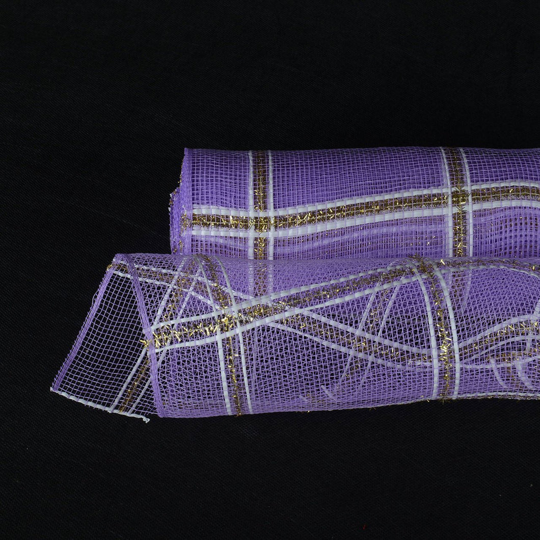 Lavender  - Poly Deco Xmas Check Mesh Metallic Stripe -  ( 10 Inch x 10 Yards )
