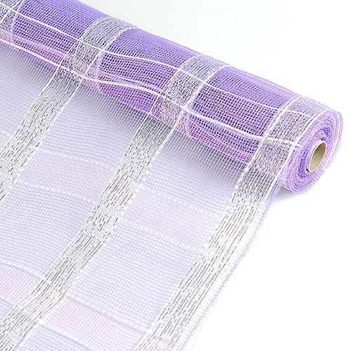 Lavender with Silver  - Poly Deco Xmas Check Mesh Metallic Stripe -  ( 21 Inch x 10 Yards )