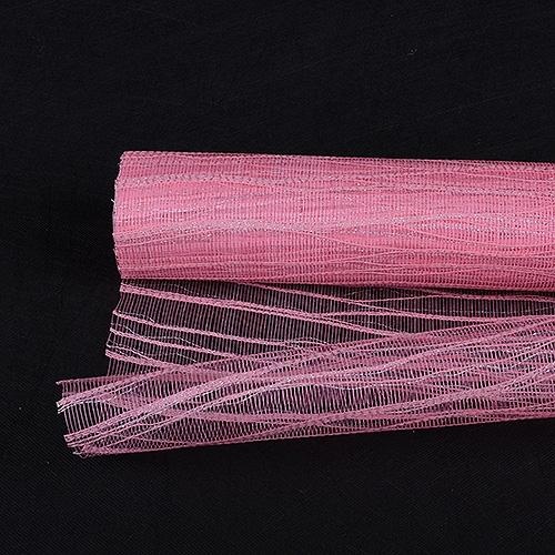 Pink  - Metallic Twine Mesh Wrap -  ( 21 Inch x 6 Yards )