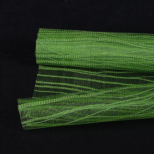 Apple Green  - Metallic Twine Mesh Wrap -  ( 21 Inch x 6 Yards )