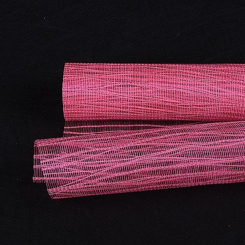 Hot Pink  - Metallic Twine Mesh Wrap -  ( 21 Inch x 6 Yards )
