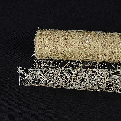 Ivory  - Metallic Sisal Mesh Wrap -  ( 21 Inch x 6 Yards )