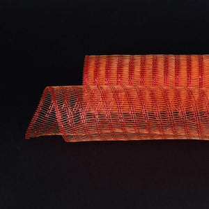 Orange  - Metallic Line Mesh Wrap -  ( 21 Inch x 10 Yards )