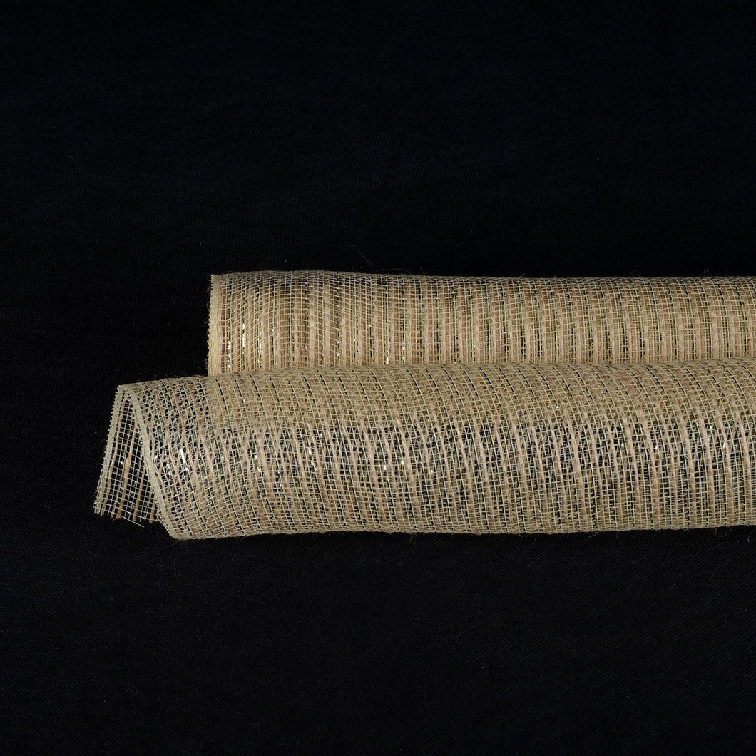 Natural  - Natural Polypropylene Burlap Metallic Stripes Mesh -  ( 21 Inch x 6 Yards )
