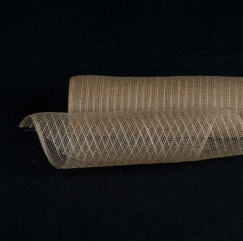 Natural Burlap Christmas Deco Mesh With Natural Burlap Stripes - 21 Inch x 10 Yards