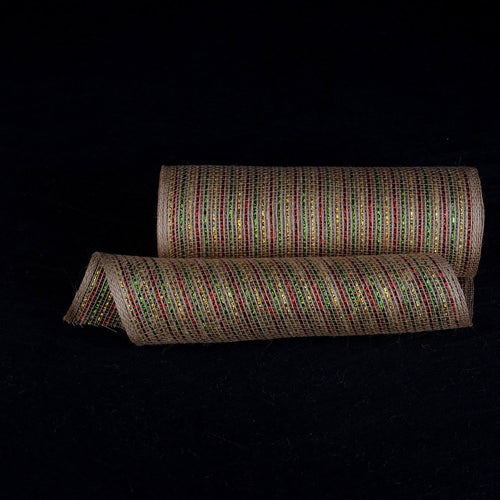 Natural Burlap Christmas Deco Mesh With Green Red Gold Metallic Stripes - 10 Inch x 10 Yards