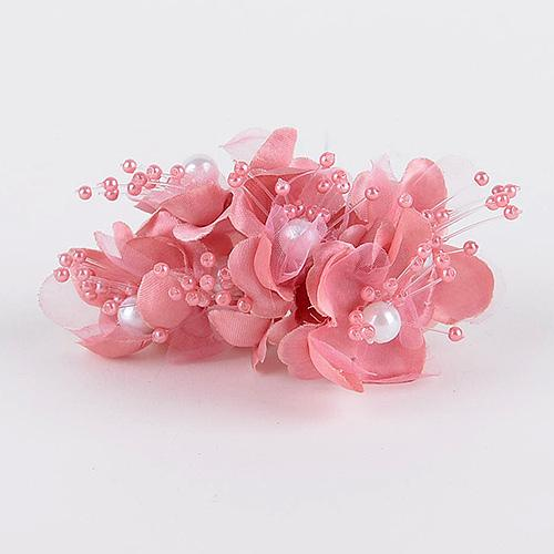 Organza Flowers with Pearl Beads (6x12) Mauve ( 12 Mini Flowers )