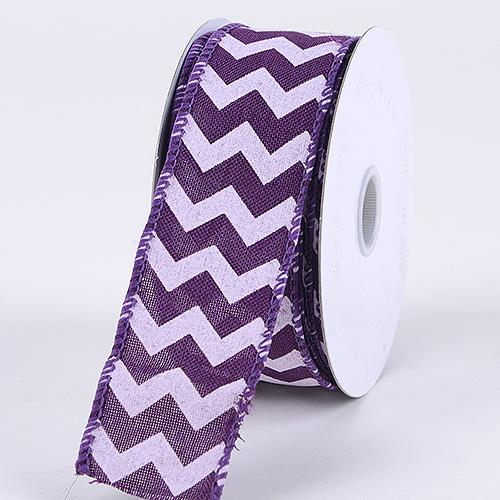 Purple - Chevron Canvas Wired Edge - ( W: 1-1/2 inch | L: 10 Yards )