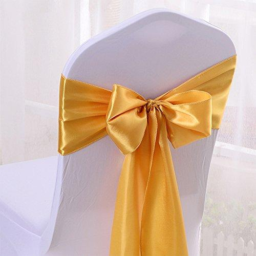 Light Gold - Satin Chair Sash - ( Pack of 10 Piece - 6 inches x 106 inches )