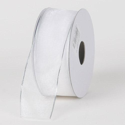 Organza Ribbon Thin Wire Edge 25 Yards White with Silver Edge ( W: 5/8 inch | L: 25 Yards )
