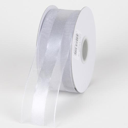 Silver - Organza Ribbon Satin Center - ( W: 5/8 inch | L: 25 Yards )
