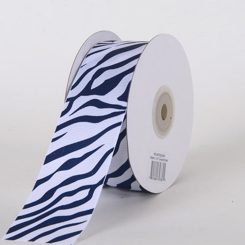 Navy - Grosgrain Ribbon Animal Print - ( W: 5/8 inch | L: 25 Yards )