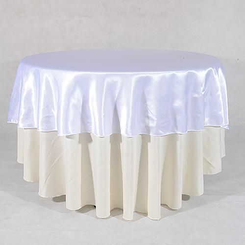 White - 90 Inch Satin Round Tablecloths
