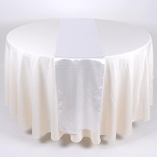 White - Satin Table Runner - ( 14 inch x 108 inches )
