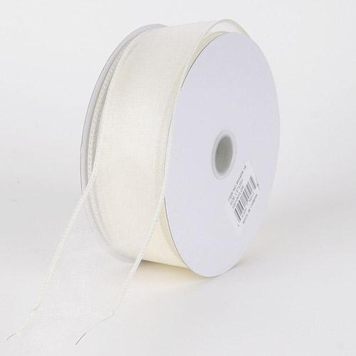 Ivory - Organza Ribbon Thick Wire Edge 25 Yards - ( W: 1-1/2 inch | L: 25 Yards )