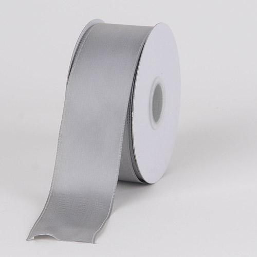 Silver - Satin Ribbon Wire Edge - ( W: 1-1/2 inch | L: 25 Yards )
