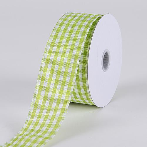 Green - Gingham Ribbon Wired Edge - ( 1-1/2 Inch x 10 Yards )