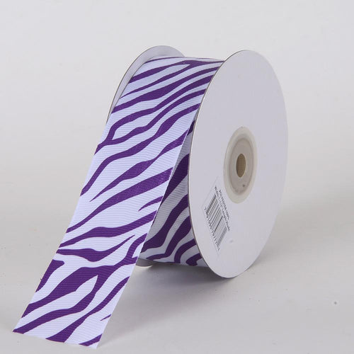 Purple - Grosgrain Ribbon Animal Print - ( W: 5/8 inch | L: 25 Yards )