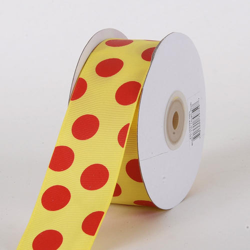 Grosgrain Ribbon Jumbo Dots Daffodil with Red Dots ( W: 1-1/2 inch | L: 25 Yards )