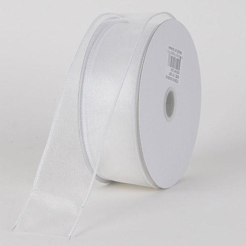 White - Organza Ribbon Thick Wire Edge 25 Yards - ( W: 1-1/2 inch | L: 25 Yards )