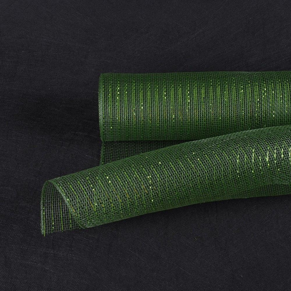 Spring Moss with Moss Lines- Deco Mesh Wrap Metallic Stripes -  ( 10 Inch x 10 Yards )