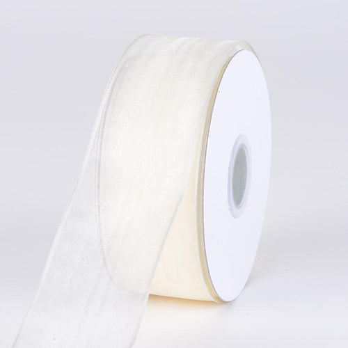 Ivory - Organza Ribbon Thin Wire Edge 25 Yards - ( W: 5/8 inch | L: 25 Yards )