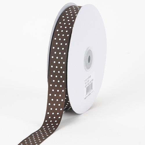Grosgrain Ribbon Swiss Dot Chocolate Brown with White Dots ( W: 3/8 inch | L: 50 Yards )